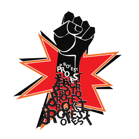 protest poster: Red and black poster with fist. Protest.