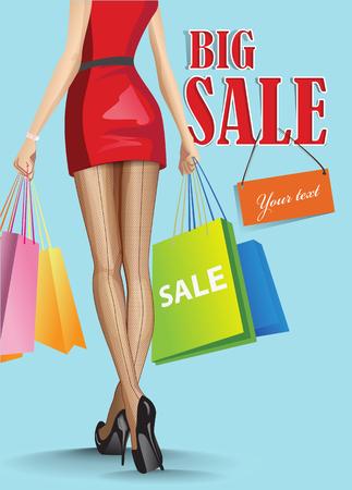 pies sexis: mujer con bolsas de la compra de vectores Vectores