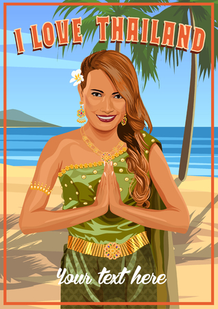 nirvana: Young woman wearing typical thai dress with tropical beach background, identity culture of thailand. Illustration