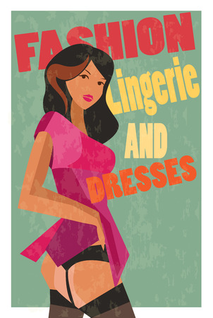 The girl in a pink dress, shows the stockings. Retro poster. Vector illustration. Stock Photo