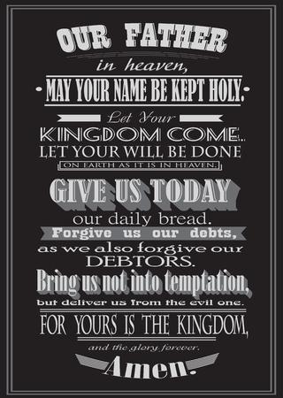 The Lord's Prayer. Literal design. vector illustration