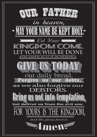 baptist: The Lords Prayer. Literal design. vector illustration