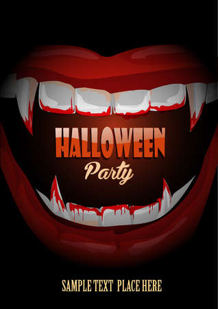Halloween club party poster with vampire teeth . Illustration
