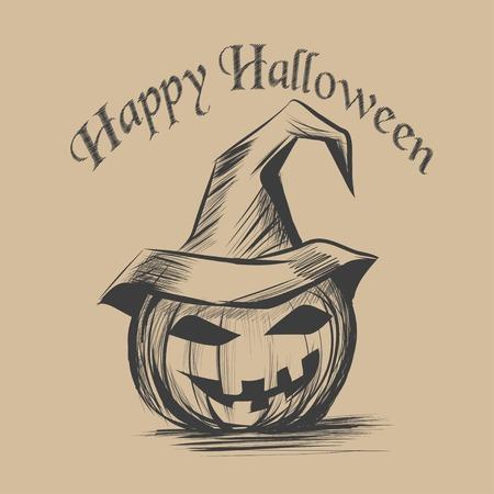 Halloween pumpkin. Realistic  hand draw sketch