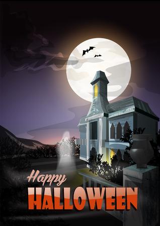 ?ld ghost house. Halloween Illustration