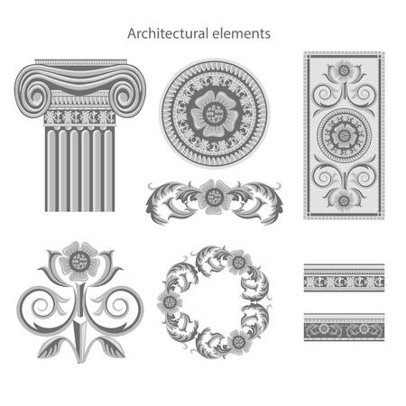 architectural elements: Elementos arquitect�nicos Classic establecidos en el fondo blanco