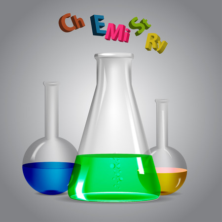 biology instruction: Chemistry. Glass flask with a chemical liquid.
