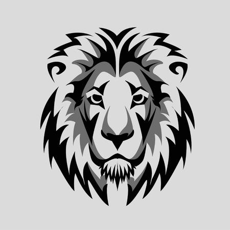 tribales: Lion Head Icon blanco y negro
