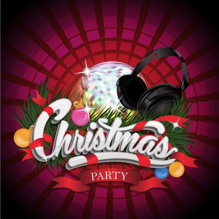 party design: Cristmas Party design with disco ball.
