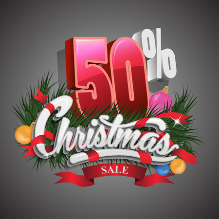 Christmas sale 50 percent on grey background