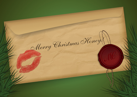 christmas mail: Merry christmas mail on green background