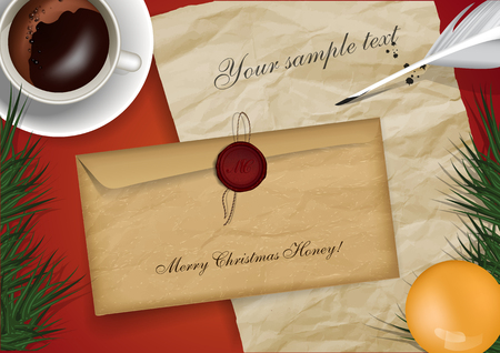 christmas mail: Merry christmas mail mock up with cap of coffe and old paper Illustration