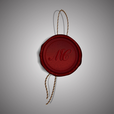 wax stamp: Red Merry Christmas wax stamp on gray background