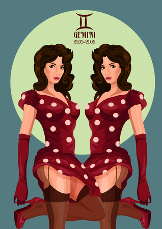 gemini girl: Zodiac: Gemini astrological sign.  Illustration with portrait of a pin up girl.