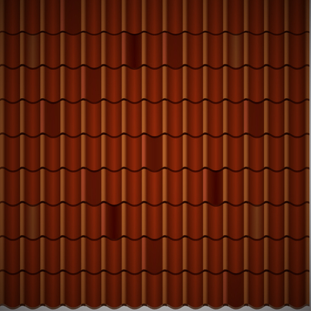 Red corrugated tile element of roof. Seamless pattern.