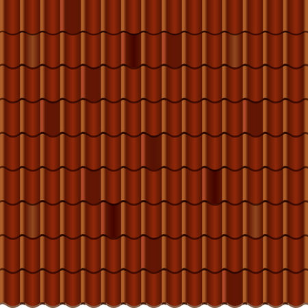 tile roof: Red corrugated tile element of roof. Seamless pattern.