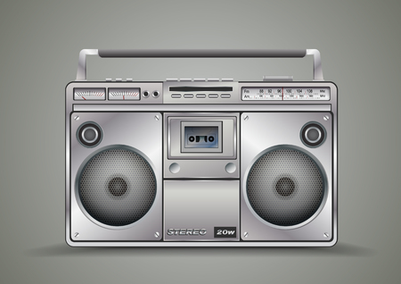 Vintage tape recorder for audio cassettes. Music boombox.