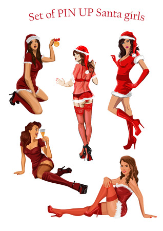 Set of Christmas  pin up stile girls