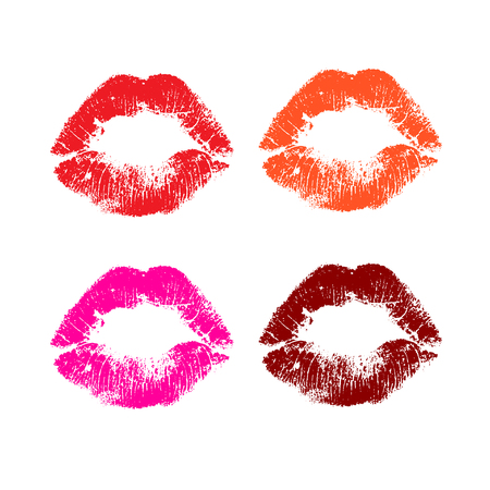 lip: Print  set of pink lips. Vector illustration on a white background.