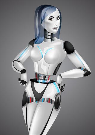 cybernetic: Beautiful girl robot on gray background.