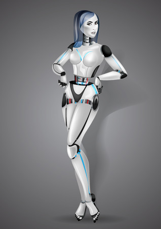 Beautiful girl robot on gray background.