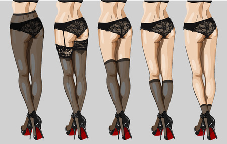 black woman lingerie: Vector illustration of hosiery elements: tights, stockings, golfs and socks.