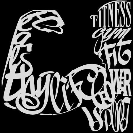 Gym  lettering design over black background