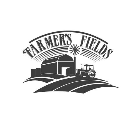 logo de comida: campos de los agricultores de la etiqueta en blanco y negro retro Vectores