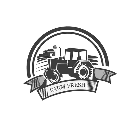 old fashioned menu: Fresh from the farm product grunge rubber stamp Illustration