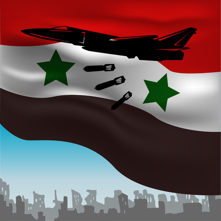 bombed: Russian warplanes bombed on the background of the flag of Syria.