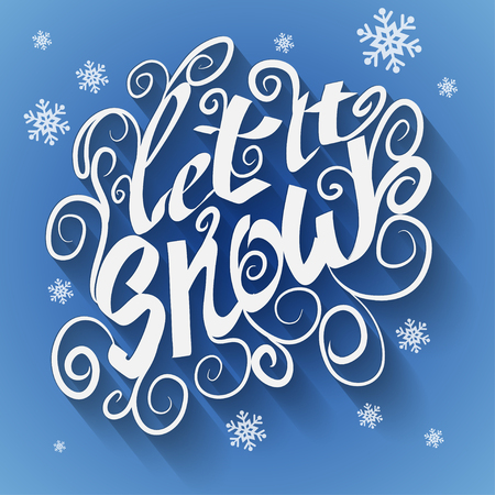 let it snow: Let it snow Christmas greeting card. Vector winter holidays landscape background Illustration