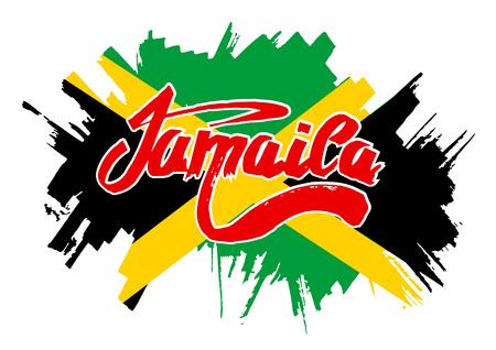 reggae: Drapeau de la Jama�que. Drapeau dans le style grungy.
