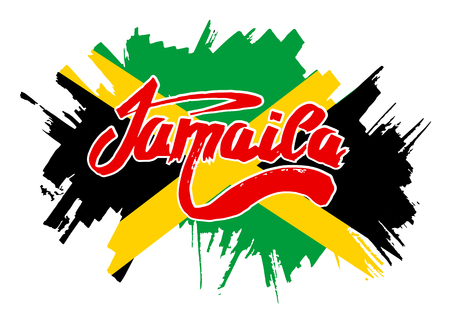 reggae: Flag of Jamaica. Flag in grungy style.