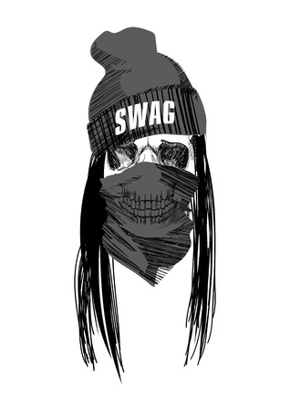 calavera caricatura: Swag del scull de hip-hop en el fondo blanco aislado. Vectores