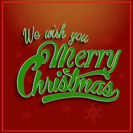 greeting christmas: Greeting Card. Merry Christmas lettering