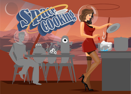 home cooking: Space  cooking in retro style, A woman prepares food for space aliens on the  space base