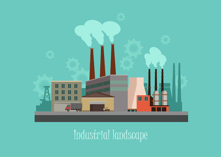 silhouette industrial factory: Industryal background - industry factory. Flat style Illustration