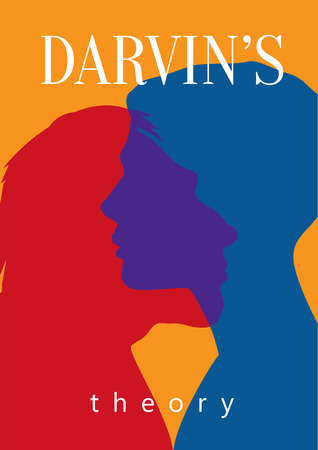 theory: Darwins theory. Human and primitive silhouettes Illustration