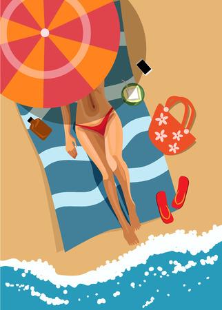 skin burns: Woman on beach. Top view. Illustration