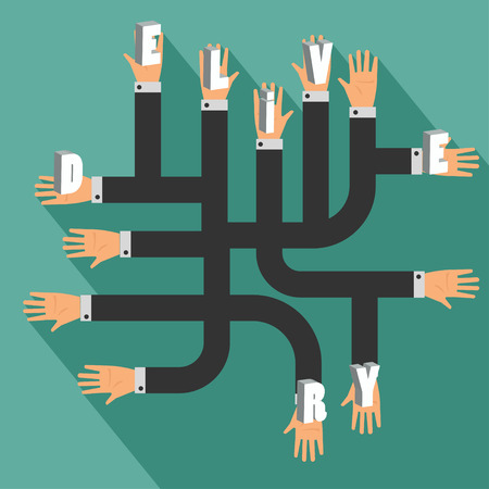 mutual assistance: Many hands, Business concept delivery. Illustration