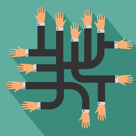 mutual: Many hands, Business concept delivery. Illustration