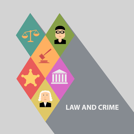 Flat design concepts for law and order, house of justice, trial by jury, crime and punishment Vektorové ilustrace
