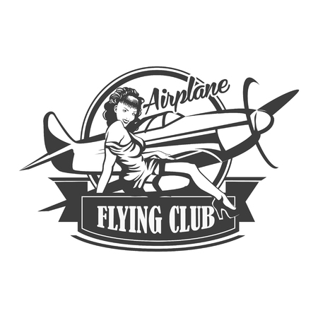 Airplane Club Vector Illustration Emblem Иллюстрация