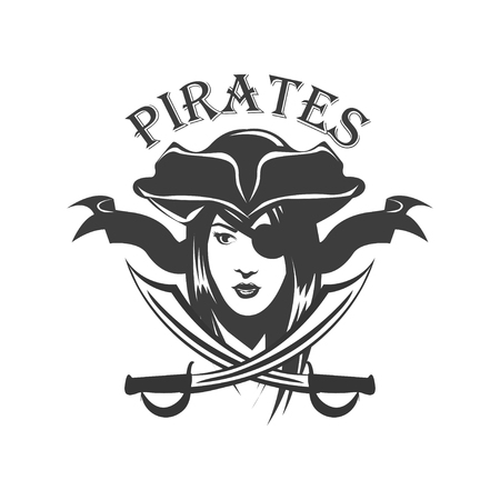 Piraten-Frau und gekreuzte Säbel Abzeichen Vektorgrafik