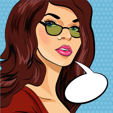 Pop art vector illustration of a woman