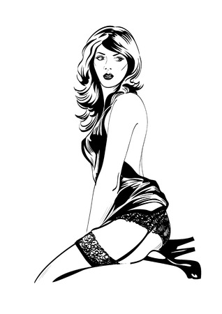 nude black woman: Vector fashion illustration of sensual woman in blue lingerie