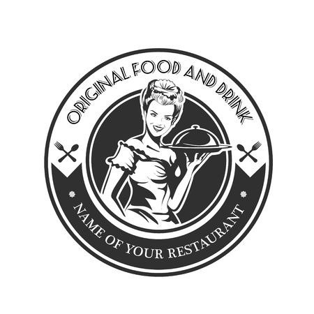 peasant woman: Restaurant retro emblem with woman waiter with a tray.