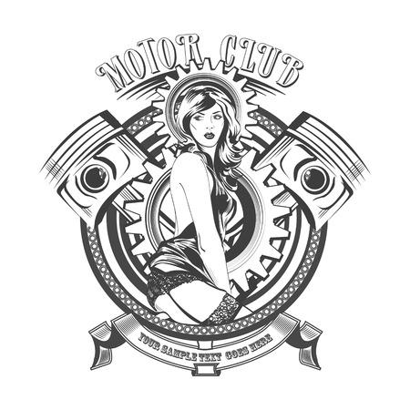 cadenas: Motor Club Vintage firma y la etiqueta con una mujer hermosa. Vectores