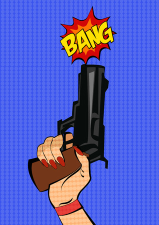 woman with gun: Gun in woman hand. Pop art stile. Illustration