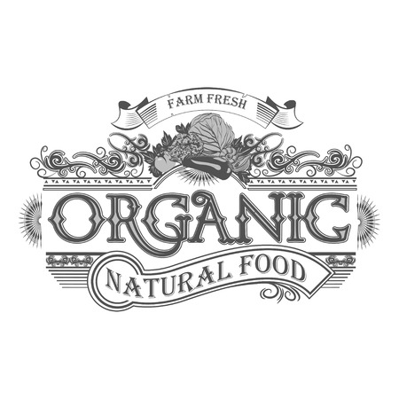 old farm: Vector retro farm fresh emblem. Vintage farm logo Illustration
